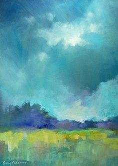 {efgart} Landscape Painting #art Cool colors green blue