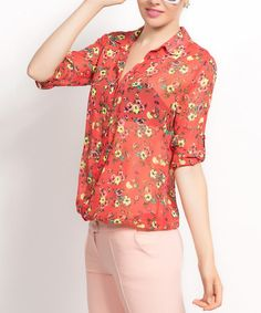 Look what I found on #zulily! Pomegranate & Yellow Sheer Floral Button-Up #zulilyfinds