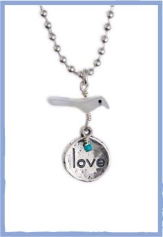Such a sweet necklace, by far one of my favorites. Great to gift a friend or yourself! A sterling silver Love charm hangs beneath the adorable bird fetish. A turquoise bead adds just a hint of color. $32
