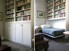 Guest room on demand! White traditional Murphy bed bookshelf hide-a-way hidden wall bed reading guest room. Cama Murphy, Murphy Bed Ikea, Murphy Bed Plans, Murphy Bed Bookcase, Bookshelf Bed, Hidden Wall Bed, Murphy Bed Hardware, Modern Murphy Beds, Bed Company