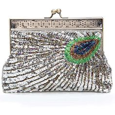 Chichitop Beaded Sequin Peacock Evening Clutch Bags,Silver