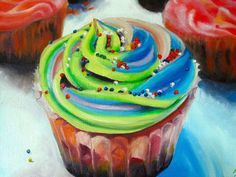 Cupcake by Mackenzie Matthews Cupcake Painting, Cupcake Art, Paint Themes, Girl Cupcakes, Birthday Cake Girls, Fine Art Prints, Paintings, Illustrations, Cards