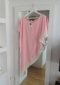 Baby pink asymmetric kaftan with fringes - wear with shorts for max impact!