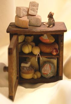 "Dollhouse miniatures ""Cabinet with cheese""-Artisan Handmade Miniature in 12th scale. From CosediunaltroMondo"