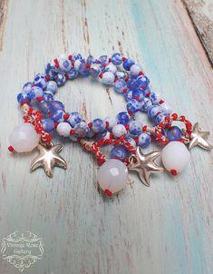 Items similar to Red Blue White Boho Bracelet, Navy Bracelet, Blue - White Agate Bracelet, Bohemian bracelet, Starfish Bracelet by VintageRoseGallery on Etsy Fashion Jewelry Necklaces, Boho Jewelry, Fashion Necklace, Handmade Jewelry, Unique Jewelry, Etsy Jewelry, Jewelry Ideas, Bohemian Bracelets, Beaded Bracelets