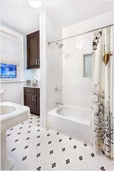 Bathroom Transitional beadboard black and white tile floor carrera marble countertop carrera-marble chrome fixtures chrome pulls dark wood cabinets espresso stain floral bathroom curtains hex tile hexagon tile hexagon ti id-1471 | Lovely Home designs