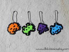Space invade key chains. Recreate with  fuse beads