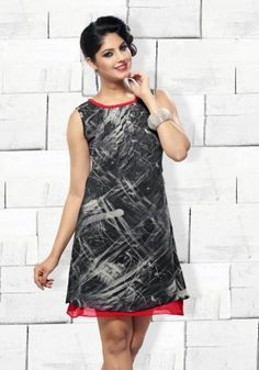 Black And Red Digital Print Georgette Ready Made Kurti