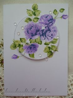 Handcrafted by Helen: Purple Vintage Roses card