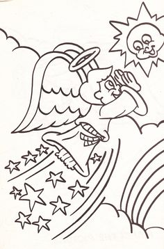 from an Angel's coloring book - boy angel playing with the sun