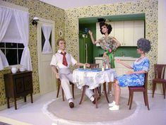 """"""" episode from """"the Family"""" sketches on the Carol Burnett Show is one of the funniest for me! I just had to do it for the """"We are Family"""" Convention in OOAK Dolls and Diorama by Matthew Sutton Play Barbie, Barbie And Ken, Family Sketch, Barbie Diorama, Homemade Furniture, Carol Burnett, Doll Display, Barbie House, Barbie World"""