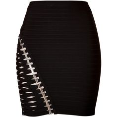 Hervé Léger Bandage Skirt ($450) ❤ liked on Polyvore featuring skirts, mini skirts, bottoms, black, body con skirt, bodycon skirt, black bandage skirt, short skirts and black bodycon skirt