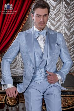 Light blue jacquard fabric suit with satin peak lapel Ottavio Nuccio Gala Tuxedo Wedding Suit, Wedding Suits, Groom Tuxedo, Men's Tuxedo Styles, Haute Couture Outfits, Style Costume Homme, Groom Attire, Groom Suits, Stylish Mens Outfits