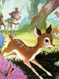 "deer illustration from ""Charles Perrault & Brothers Grimm Fairy Tales,"" circa 1960's"