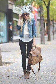 My Showroom, Priscila Betancort, Oakley Frogskins, Optifactory, Sarenza, blonde, fashion blogger, blog de moda, street style, gorro de lana, fashion pills, jeans, denim jacket