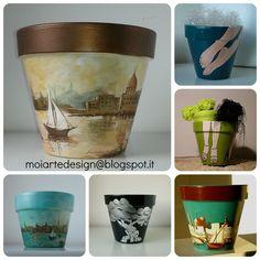 vasi di terracotta dipinti a mano/ handpainted clay pots