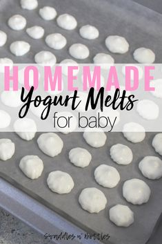 Homemade yogurt melts. Quick and healthy snack idea for baby and toddler! Only takes about 10 minutes to make a TON of these! Enough to freeze for later!