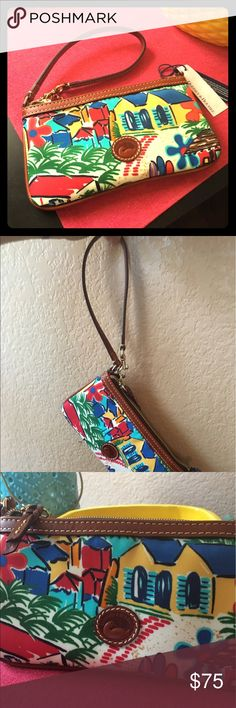 ☀️NWT Summer LG Wristlet 🌴 Large Dooney & Bourke wristlet, never used and has not been registered. This will fit multiple items 9'x11' Dooney & Bourke Accessories Key & Card Holders