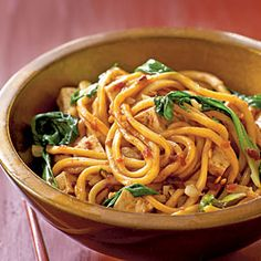 Spicy Malaysian-Style Stir-Fried Noodles     I probably make this 5-6 times a month. It's ridiculously good. Substitute green or napa cabbage if you can't find bok choy and baby portobello mushrooms if you don't want to spend the $$ on shiitakes.