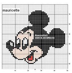 Mickey Mouse x-stitch Disney Cross Stitch Patterns, Cross Stitch Kits, Cross Stitch Charts, Cross Stitch Designs, Cross Stitching, Cross Stitch Embroidery, Mickey Mouse Blanket, Mickey Head, Hama Beads Disney