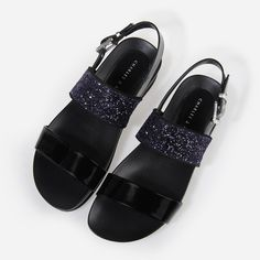 Glitter Strap Sandals - Purple - Flats - Shoes | CHARLES & KEITH