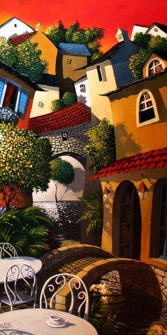 Miguel Freitas ~ The naive memories Naive Art, Coffee Art, Whimsical Art, Painting Inspiration, Amazing Art, Folk Art, Modern Art, Art Drawings, Street Art