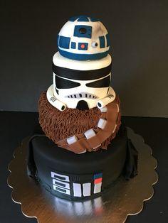 Star Wars cake. #fourthbirthday #thefourthwasstrong #tieredstarwarscake #tieredcake r2d2 storm trooper Chewbacca Darth Vader