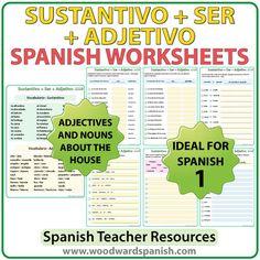 Noun + SER + Adjective – Spanish 1 Worksheets. Sustantivo + SER + Adjetivo– Ejercicios