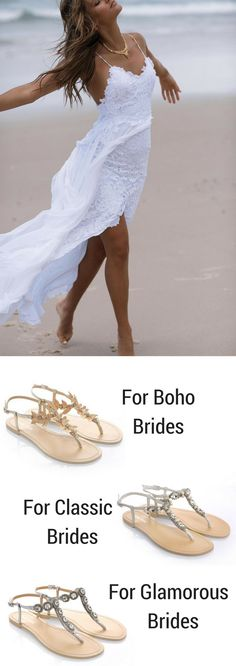 Hello, Hollie 2.0 by Grace Loves Lace! One stunning famous dress, one venue (the beach), 3 options for venue-appropriate sandals for 3 different brides. Wether you are a classic, boho, or glamorous bride, Bella Belle's range of dressy sandals will be appropriate for your destination, backyard, or barn wedding.