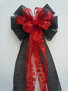 Items Similar To Red Black Wedding Pew Bow Red Black Christmas Bow Red  Polka Dots Black Net Wreath Bow Tree Bow Red Black Bow On Etsy
