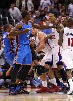 Barnes apologizes for ejection and tweet | LOS ANGELES, CA - NOVEMBER 13: Serge Ibaka #9 of the Oklahoma City Thunder and Matt Barnes #22 of the Los Angeles Clippers square off during an altercation at Staples Center on November 13, 2013 in Los Angeles, California. Ibaka and Barnes were both ejected from the game. (Photo by Stephen Dunn/Getty Images)