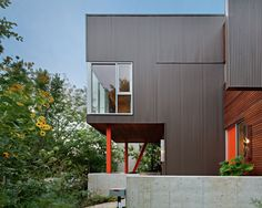 Charcoal/Black matte corrugated metal siding with wood. (Dislike the visible fasteners.)