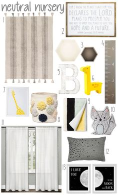 Gender neutral Gray and Yellow Baby Nursery