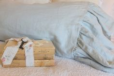The Mirabelle Linen Collection Ruffle by tickingandtoile on Etsy, $33.00