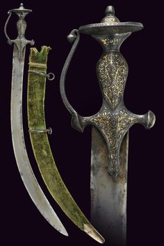 A tulwar, wide, curved, flat, single -and false-edged blade strengthened at the back, stamped; typical, iron hilt, decorated with gold and silver inlays depicting floral motifs, provided with guard and slightly convex, disc-shaped pommel. Wooden scabbard with green velvet covering, iron rings, gold-inlaid chape decorated with racemes.   dimensions: length 87 cm.   provenance: India   dating: 19th Century.