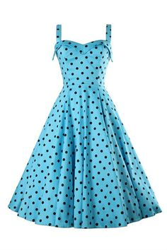 '50s Style Vintage Blue Dot Printed Dress
