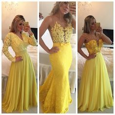 Prom Dress,Sexy Prom Dress, Yellow Lace Prom Dresses,Vintage