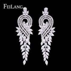 FEILANG Luxury Valentine's Day Gifts White Gold Plated Flower Dangle Earrings with Marquise Shape Zircon Clustered (FSEP344)