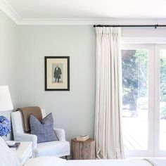 Shiplap walls, white linen curtains, rustic wood stool by Oliver Throsby Bedroom Drapes, Linen Bedroom, Home Bedroom, Modern Bedroom, Bedroom Decor, Master Bedroom, Master Bath, White Linen Curtains, Lined Curtains