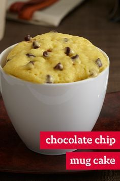 Chocolate Chip Mug Cake – Microwave five ingredients into two adorable mugs to make Chocolate Chip Mug Cake! Prep for this delicious dessert recipe takes just 5 minutes.
