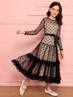 Girls Lace Trim Polka Dot Mesh Overlay Self Belted Dress | SHEIN USA
