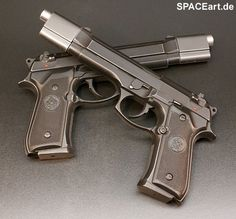 Underworld: Selenes Death Dealer Pistolen Set, Fertig-Modell, http://spaceart.de/produkte/udw001.php
