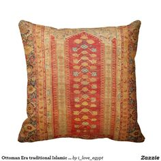 Ottoman Era traditional Islamic textile Throw Pillow