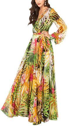 Tropical Flower Printed Chiffon Long Sleeve Beach Dress