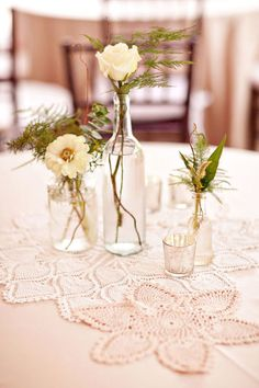 simple flowers and doily runners