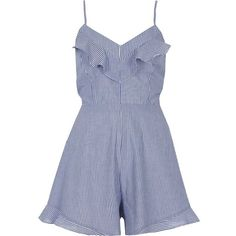 River Island Blue stripe bow back cami romper ($70) ❤ liked on Polyvore featuring jumpsuits, rompers, romper, blue, rompers/ jumpsuits, women, tall romper, romper jumpsuit, tall jumpsuit and v neck jumpsuit