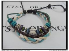 Surfer Leather Bracelet Handmade Mens Womens   292S by sevenvsxiao, $12.00