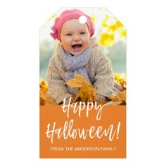 Happy Halloween Modern Halloween Photo Gift Tag - craft supplies diy custom design supply special