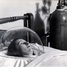 """""""From the April 23, 1945 feature on the new plastic with """"memory"""" - """"Plexiglas canopy forms a transparent oxygen """"tent"""" in hospital bed. Oxygen is fed from metal tank through back of tent"""" - LIFE magazine. (Andreas Feininger—The LIFE Picture Collection/Getty Images) #thisweekinLIFE"""" by life"""