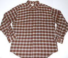 J. CREW Men's Plaid Brown Flannel Shirt XL EXTRA LARGE Long Sleeve #JCrew #ButtonFront